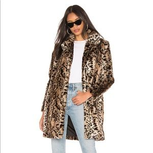 BB Dakota Faux Fur Leopard Coat